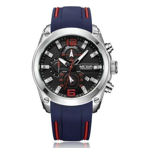 (pre oder) Megir Men's Chronograph Analog Quartz Watches Luminous Waterproof Silicone