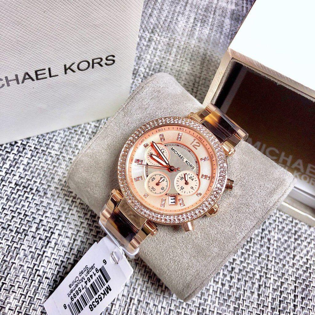 Michael Kors Parker chronograph tortoise and rose gold stainless steel bracelet watch. MK5538
