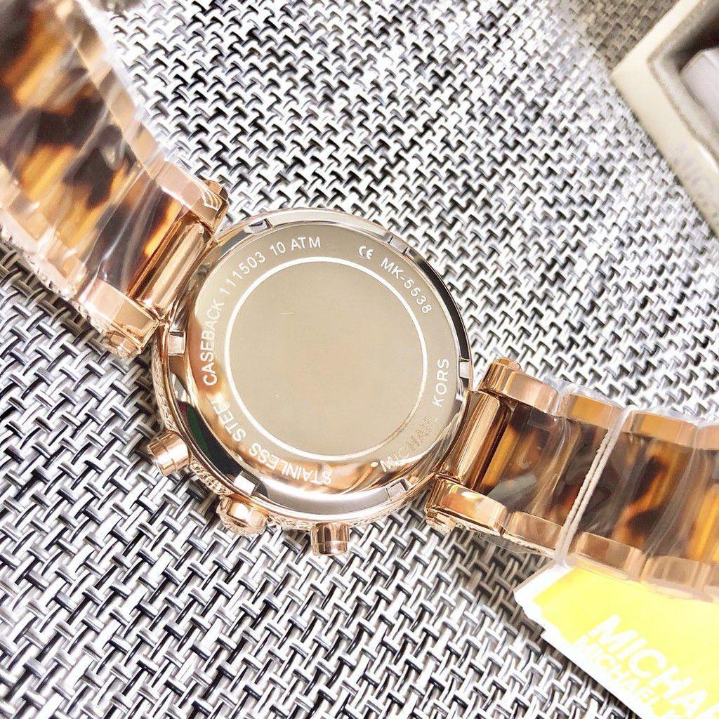 Michael Kors Parker chronograph tortoise and rose gold stainless steel bracelet watch. MK5538
