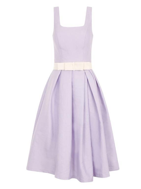 *NEW* Lilac 50's Style Round Neck Midi Dress With Box Pleats