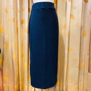 深藍棉長裙