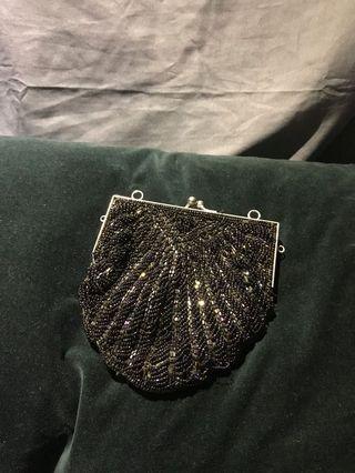 二手變色串珠口金包可扣背帶斜背手提