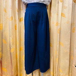 深藍薄寬褲