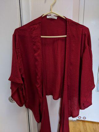 M Boutique Red Front Tie Blouse Size Small