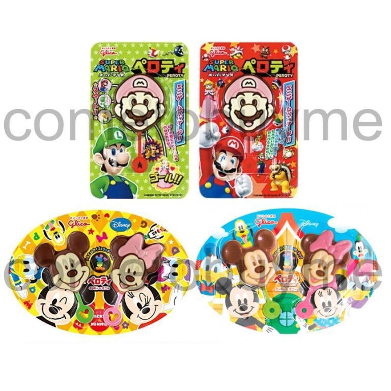 日本固力果迪士尼造型可可 巧克力棒棒糖 米奇 米妮 迪士尼巧克力 超級瑪莉 馬利歐 瑪利歐 格力高 Glico