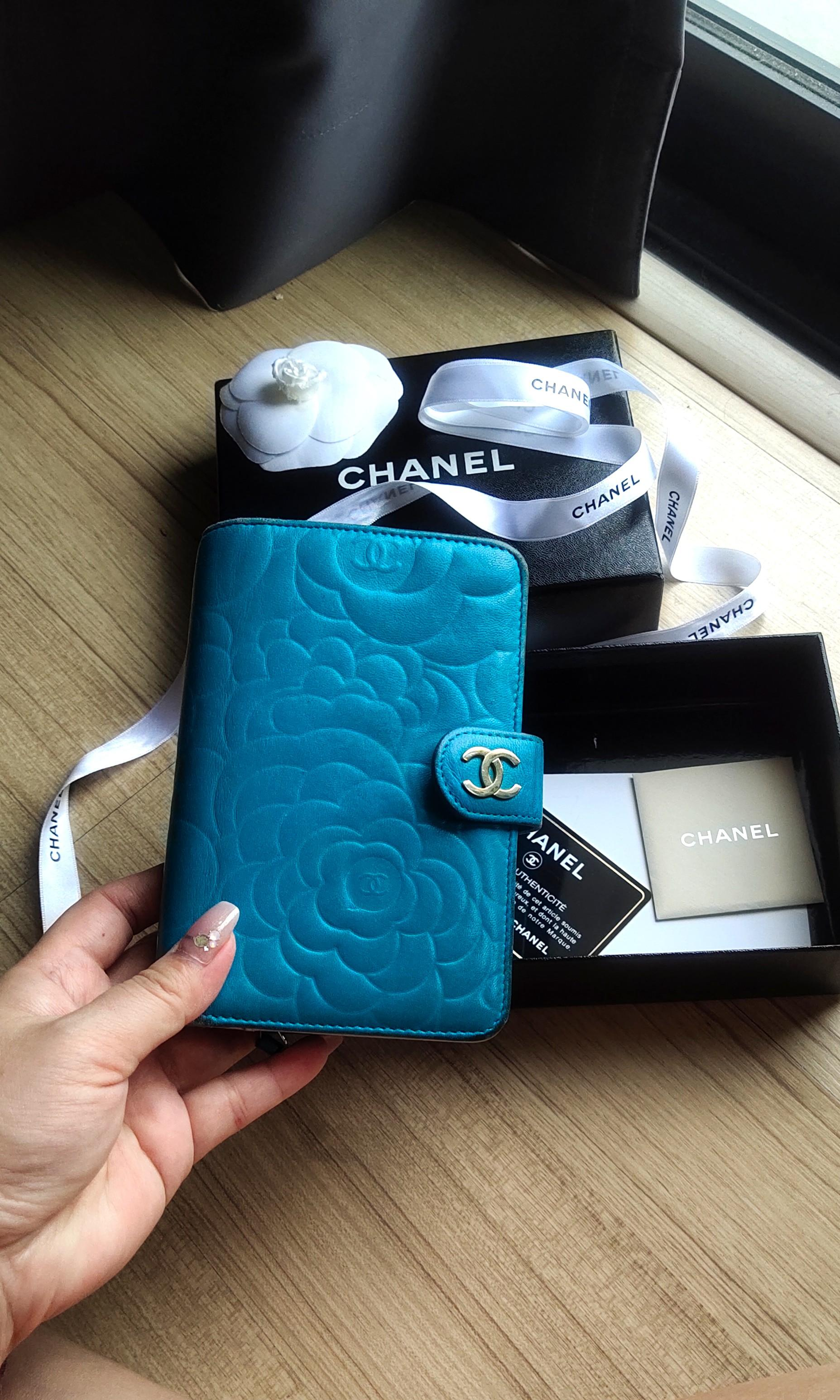 💯AUTHENTIC CHANEL Camellia French wallet Camelia Flower Compact Bi Fold Emerald blue Turquoise Lambskin Zip Zipper zipped Around Medium With Matt Gold Hardware camelia pre Loved #EarnXtra