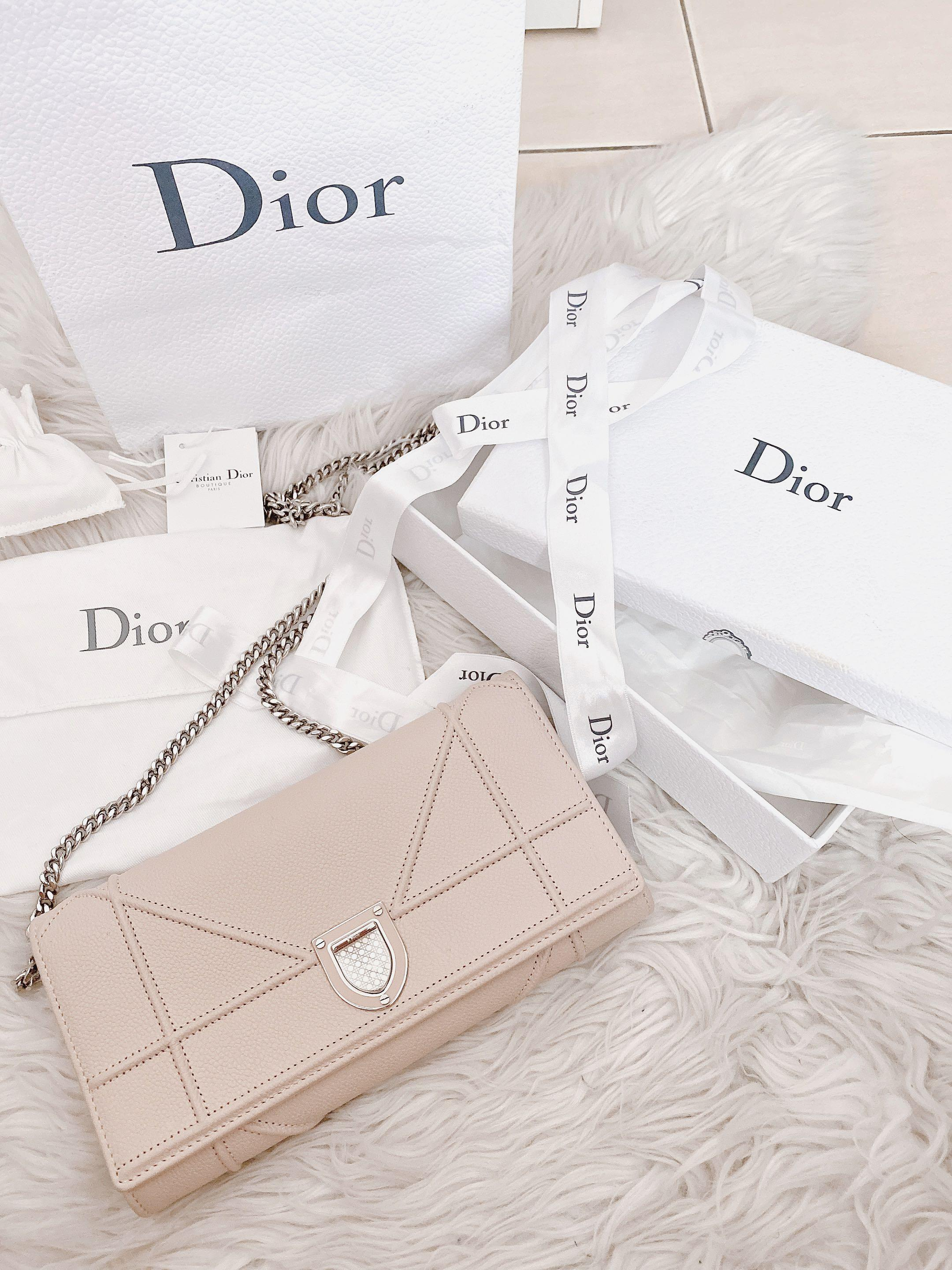 AUTHENTIC DIOR Diorama wallet on chain WOC silver hardware nude pink/ powder pink