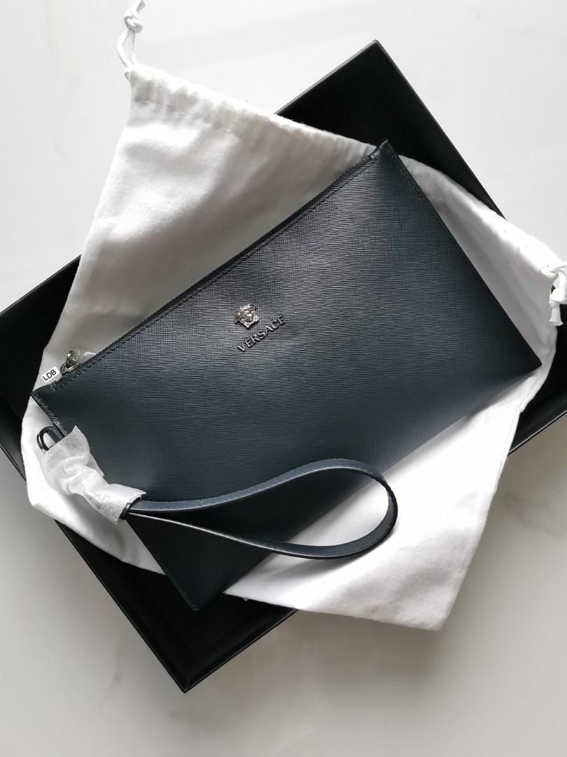 Authentic Versace Medusa Unisex O Case Clutch Black / Navy Calf Leather