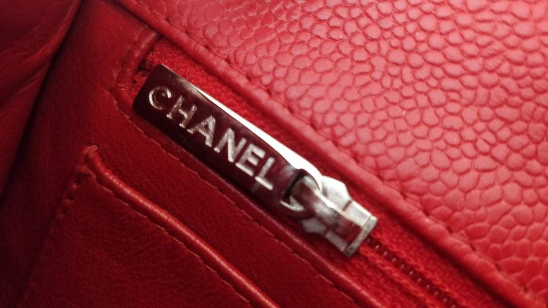Authenticated Chanel red caviar mini rectangular flap bag