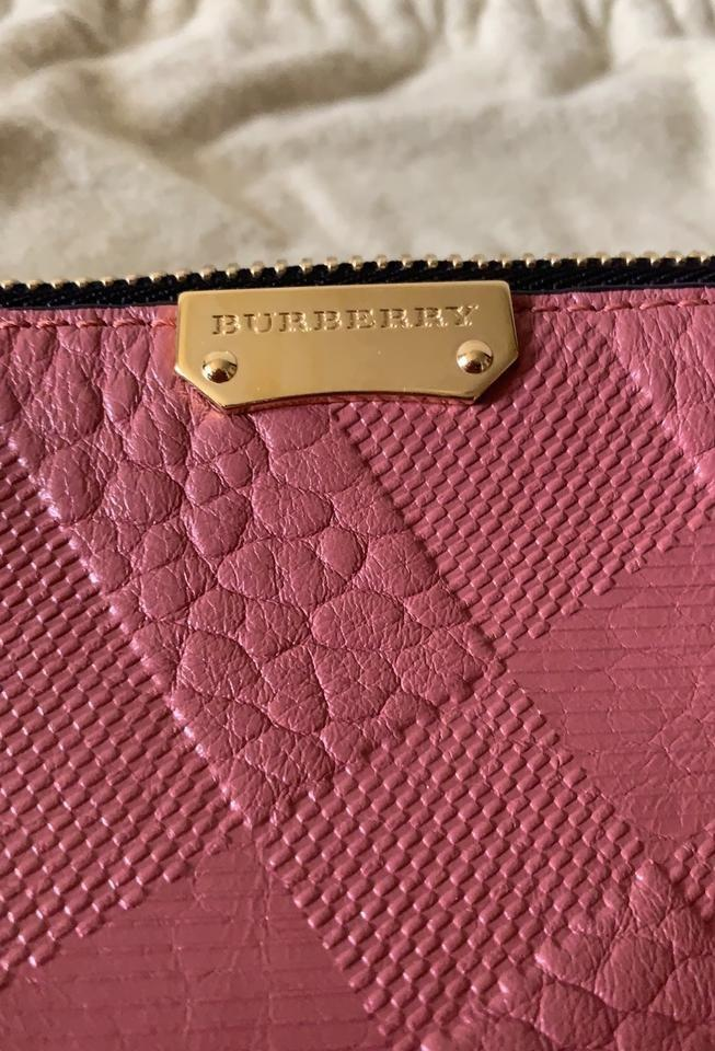 BURBERRY AUTHENTIC Peyton Check Embossed Leather Clutch