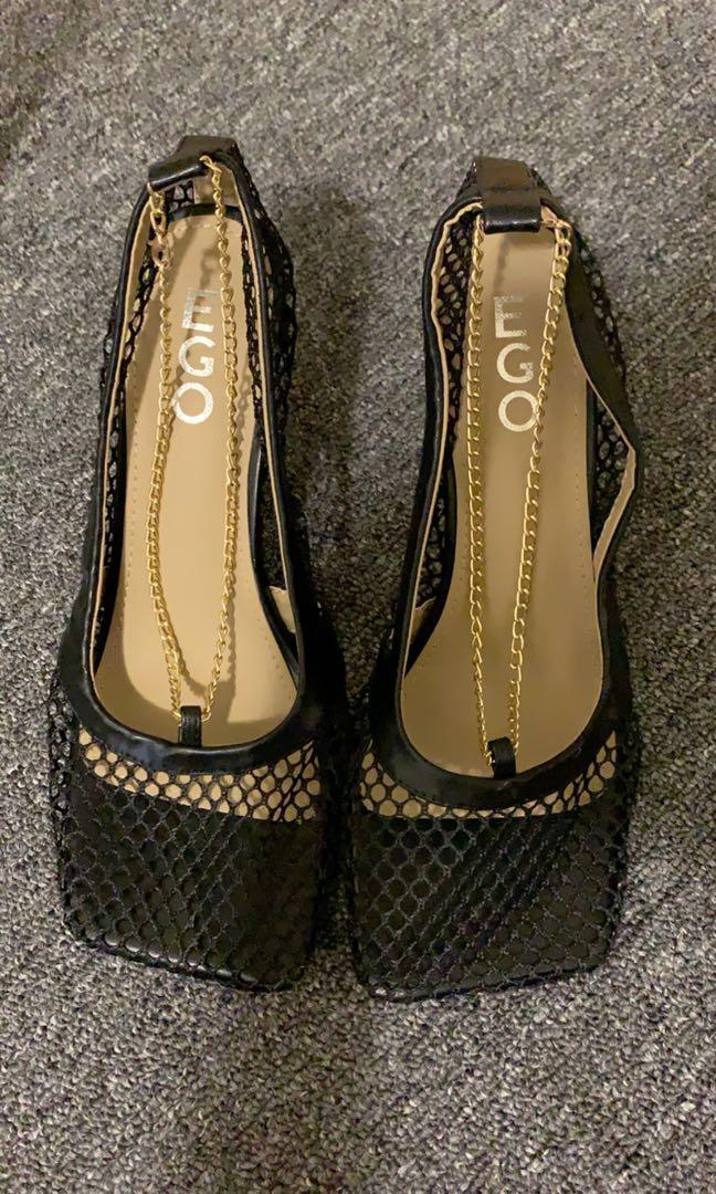 EgoOfficial Kylie-Inspired Fishnet Heel with Gold Chain