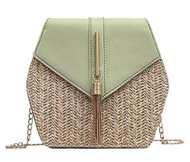 Hexagonal rattan green bag with gold chain/accents