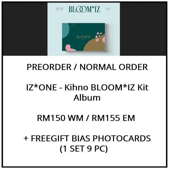 IZ*ONE - Kihno BLOOM*IZ Kit Album - IZONE BLOOMIZ - PREORDER/NORMAL ORDER/GROUP ORDER/ALBUM GO + FREE GIFT BIAS PHOTOCARDS (1 ALBUM GET 1 SET PC, 1 SET GET 9 PC)