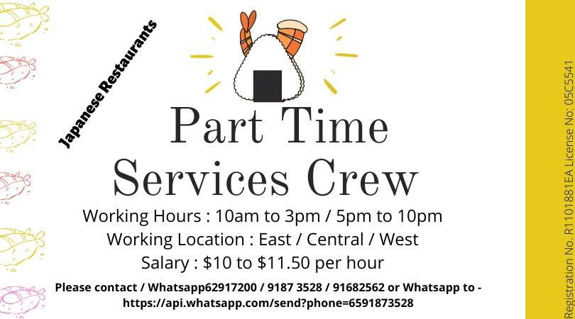 Japanese Restaurant Part Time Service Crew