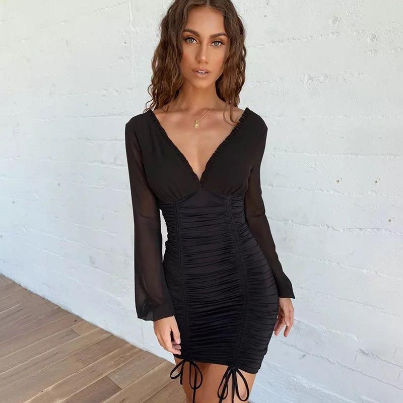 🖤Off shoulder🖤 black ruched dress strap bodycon clubbing party mini black dress