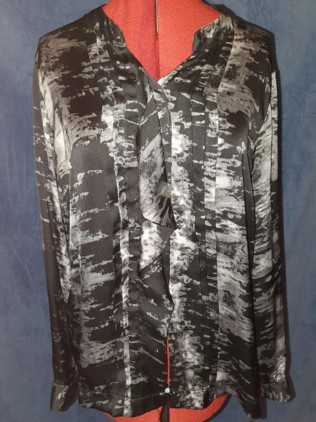 SIROCCO - Button up black and grey patterned shirt
