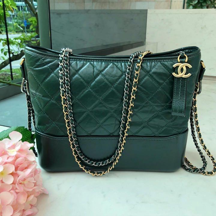 ✖️SOLD!✖️ Superb Deal! Chanel Medium Gabrielle in Dark Forest Green Distressed Calfskin 3-tone hardware.