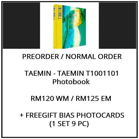 TAEMIN - TAEMIN T1001101 Photobook  - PREORDER/NORMAL ORDER/GROUP ORDER/ALBUM GO + FREE GIFT BIAS PHOTOCARDS (1 ALBUM GET 1 SET PC, 1 SET GET 9 PC)