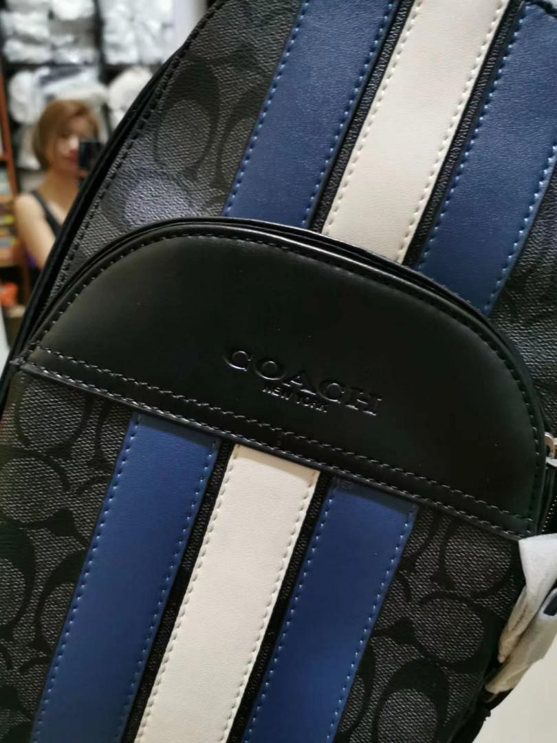 USA COACH OUTLET HOUSTON PACK IN SIGNATURE CANVAS WITH VARSITY STRIPE (COACH F67249)