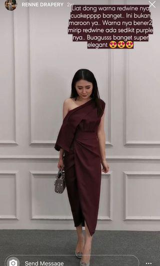 Dress drappery gaun one shoulder gown red wine maroon party wedding
