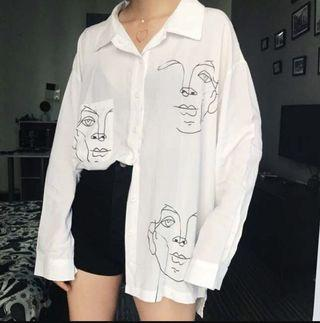 White graphic blouse