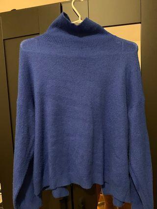 OAK+FORT electric blue open back turtle neck