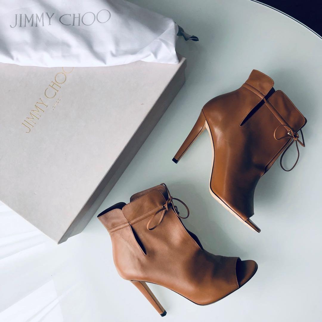 $900 jimmy Choo brown peep toe ankle booties size 36 / 6