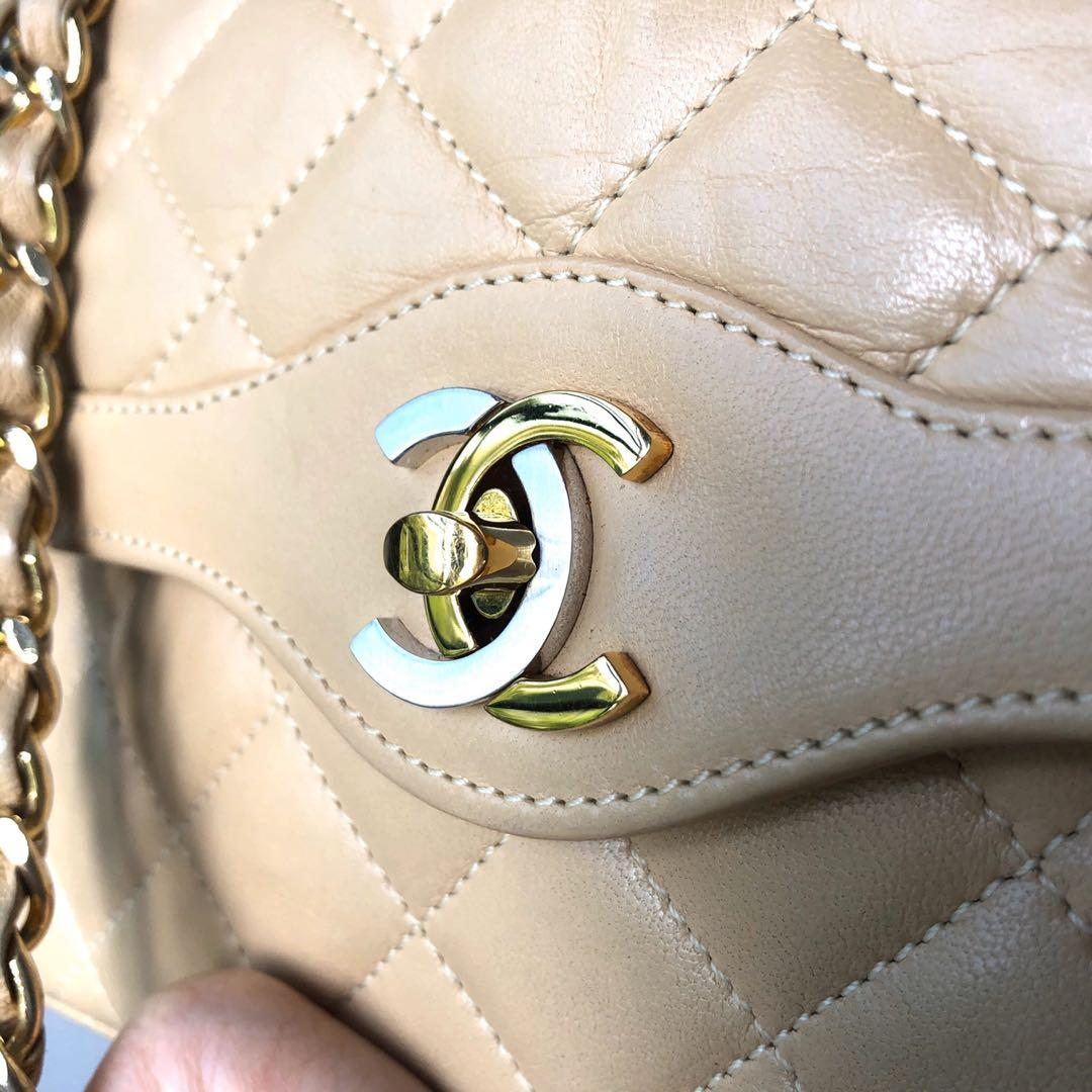 Authentic Chanel Nude Limited Ed 10 Inch Paris Edition Dual Tone Classic Double Flap bag w 24k Gold Hardware