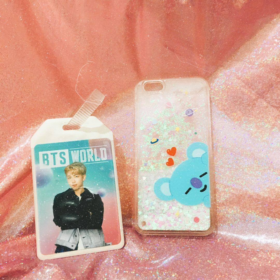BTS rm bts world luggage tag and bt21 koya glitter ip6/6s case
