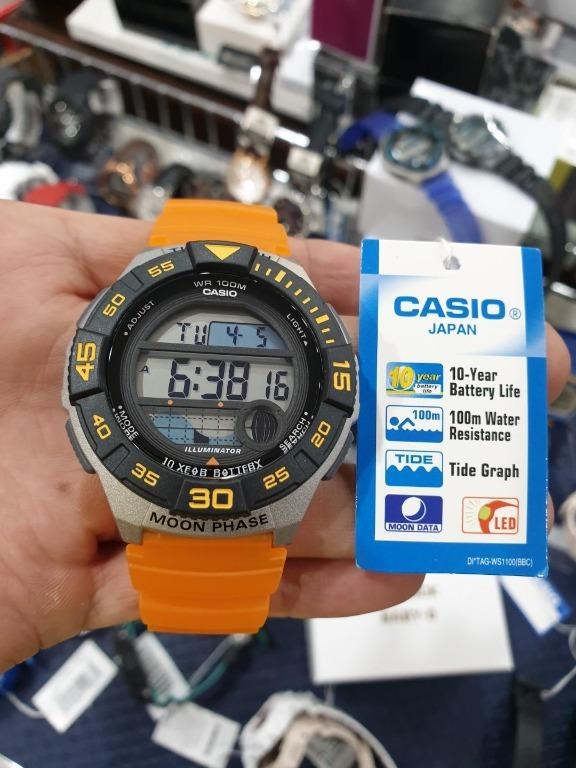 Casio WS-1100H-4AV & LWS-1100H-9AV Couple Digital YOUTH Sporty Design Tide Graph Resin Band Original Watch
