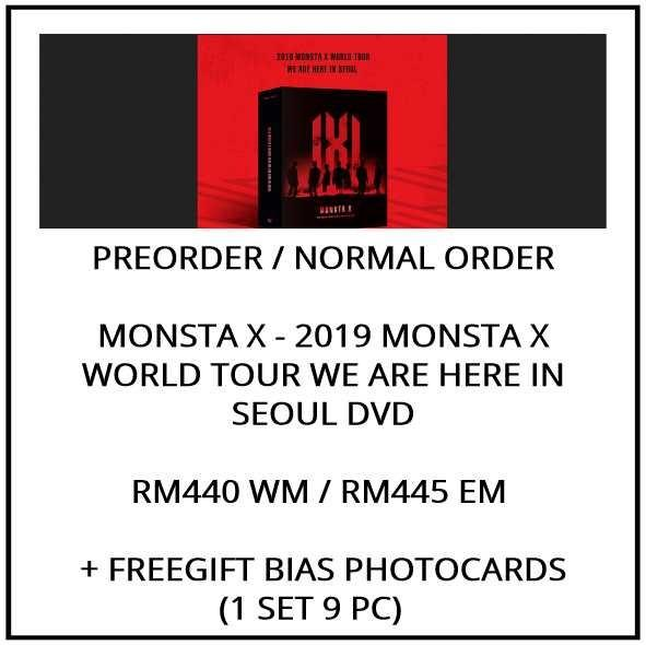 MONSTA X - 2019 WORLD TOUR WE ARE HERE IN SEOUL DVD  - PREORDER/NORMAL ORDER/GROUP ORDER/GO + FREE GIFT BIAS PHOTOCARDS (1 ALBUM GET 1 SET PC, 1 SET GET 9 PC)