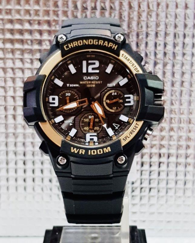 NEW🌟CASIO CHRONOGRAPH UNISEX SPORTS WATCH : 100% ORIGINAL AUTHENTIC : By BABY-G-SHOCK ( GSHOCK ) COMPANY : MCW-100H-1A9 (BLACK ROSE-GOLD)