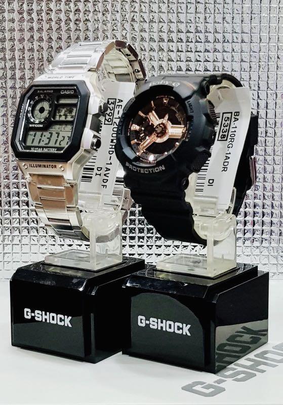 NEW🌟COUPLE💝SET : CASIO BABYG🌟DIVER SPORTS WATCH  : 100% ORIGINAL AUTHENTIC CASIO BABY-G-SHOCK ( GSHOCK ) : BA-110RG-1A + AE-1200WHD-1AV