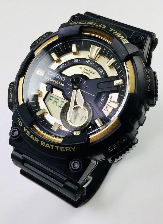NEW🌟TOUGH CASIO DIVER UNISEX SPORTS WATCH : 100% ORIGINAL AUTHENTIC : By BABY-G-SHOCK ( GSHOCK ) COMPANY : AEQ-110BW-9A / AEQ-110W-1A3 (BLACK-GOLD)