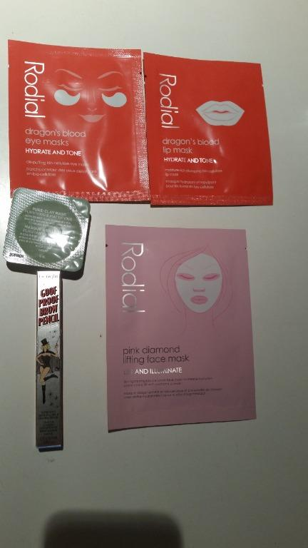 Rodial pink diamond face & Rodial lip and eye dragon blood mask