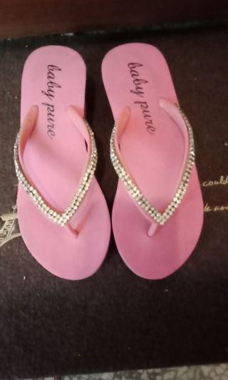 水鑽,粉色拖鞋,