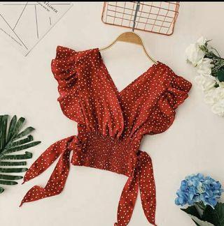 Summer Red Polka Crop Top