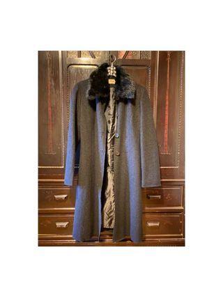 兔毛領子可拆式 保暖長版大衣 義大利/S-M