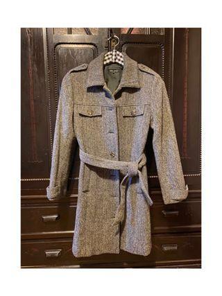 英倫復古長大衣 修身灰色人字紋 粗花呢羊毛呢大衣