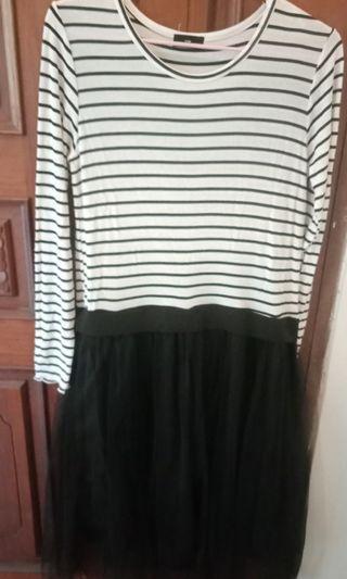 橫條紗裙洋裝