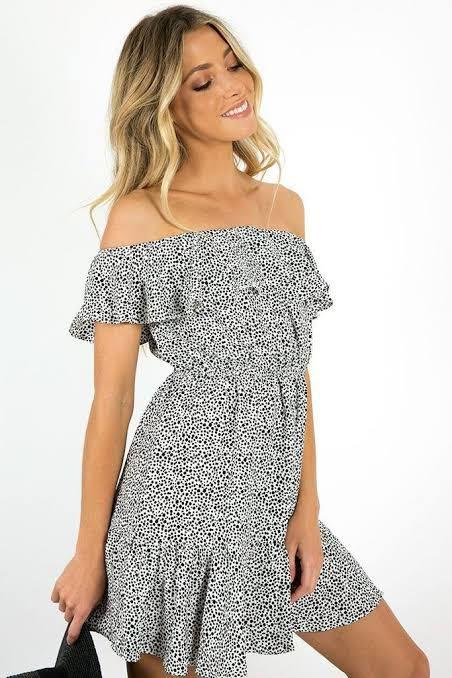 🖤 Dissh White Black Polka Dot Off The Shoulder Frill Dress Great Condition 🖤