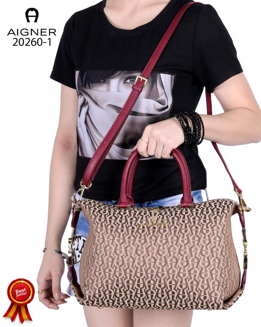 AIGNER ROMA Handtasche  Generbtes Handbags Grained Cowhide Gold Like ori Canvas Aigner Vs Smooth Leather (20260-1)