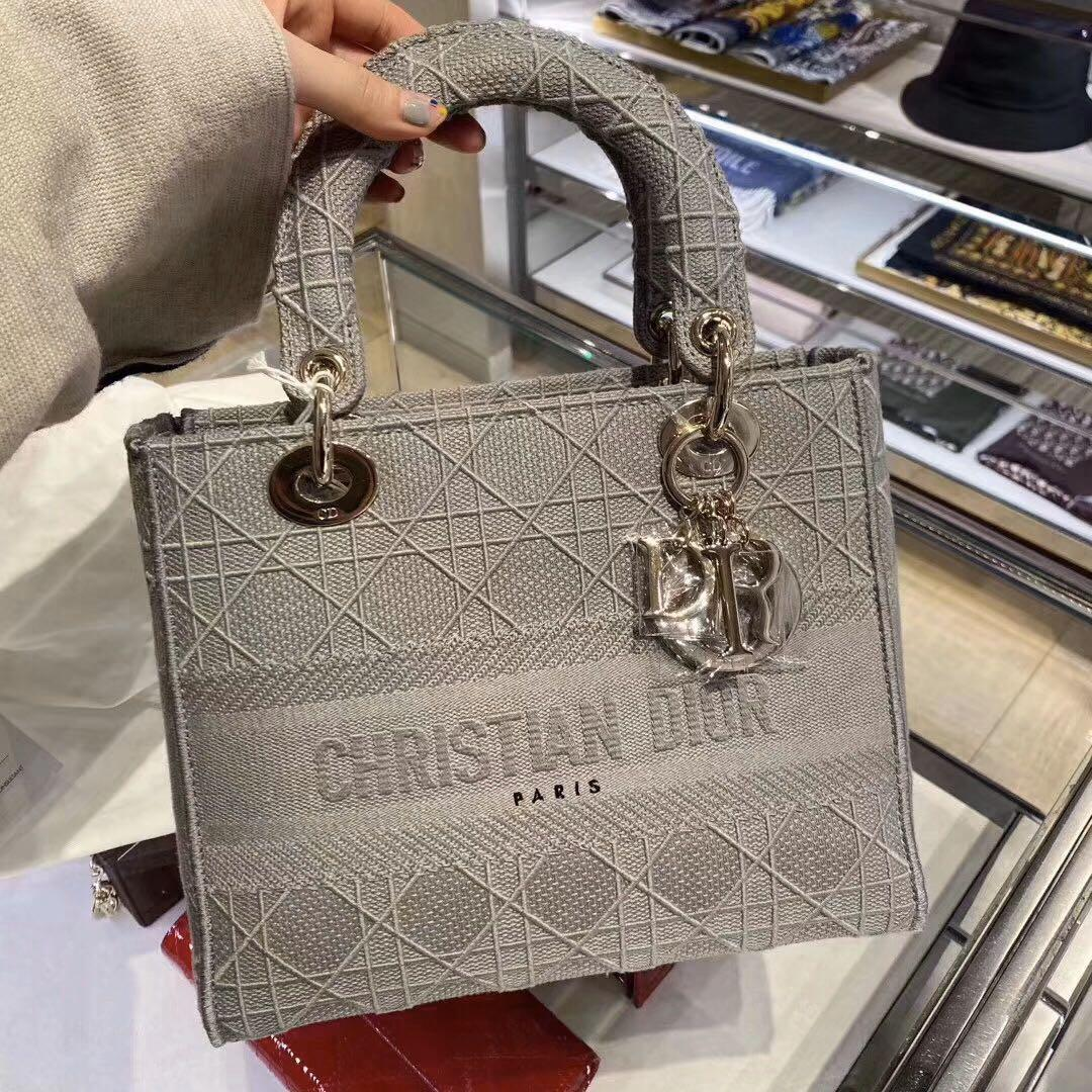 Authentic Brand New Christian Dior Medium Gray Stone Lady Dior Embroidered Cannage Bag