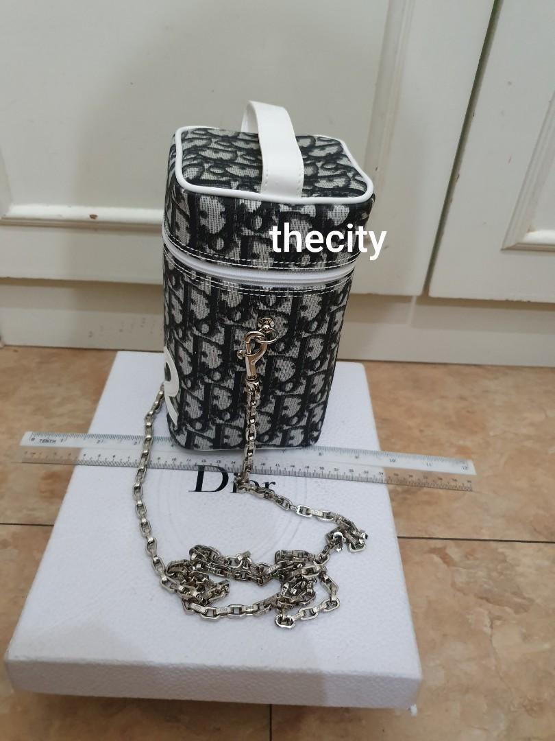 AUTHENTIC DIOR MONOGRAM LOGO DESIGN VANITY BUCKET BAG -  BLUE COLOR, SILVER HARDWARE - WITH EXTRA HOOKS & DIOR LONG CHAIN STRAP FOR CROSSBODY SLING - VERY CLEAN INTERIOR - (KEPT UNUSED)