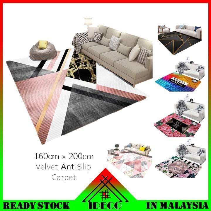 Bedroom Living Room Velvet Anti Slip Carpet Floor Mat Furniture