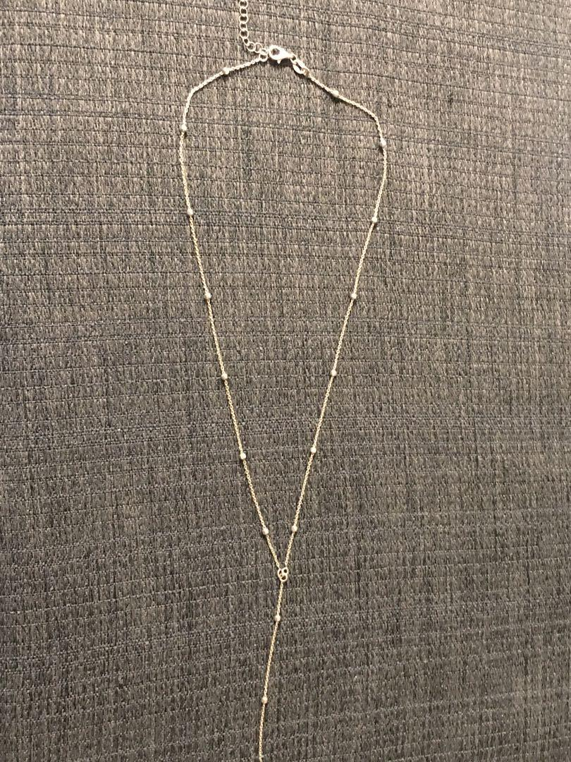"""Brand new Italian sterling silver rosary style necklace 15"""" long"""