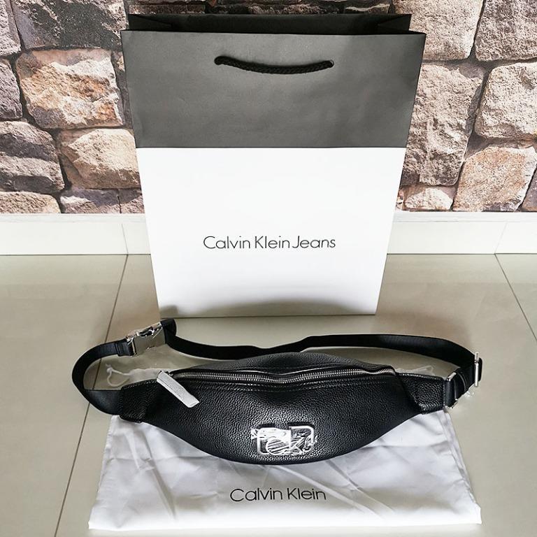 CHEAP! BRAND NEW CALVIN KLEIN CK LADIES CAST PEBBLE ESSENTIALS SLING BAG WAIST POUCH FANNY PACK BLACK