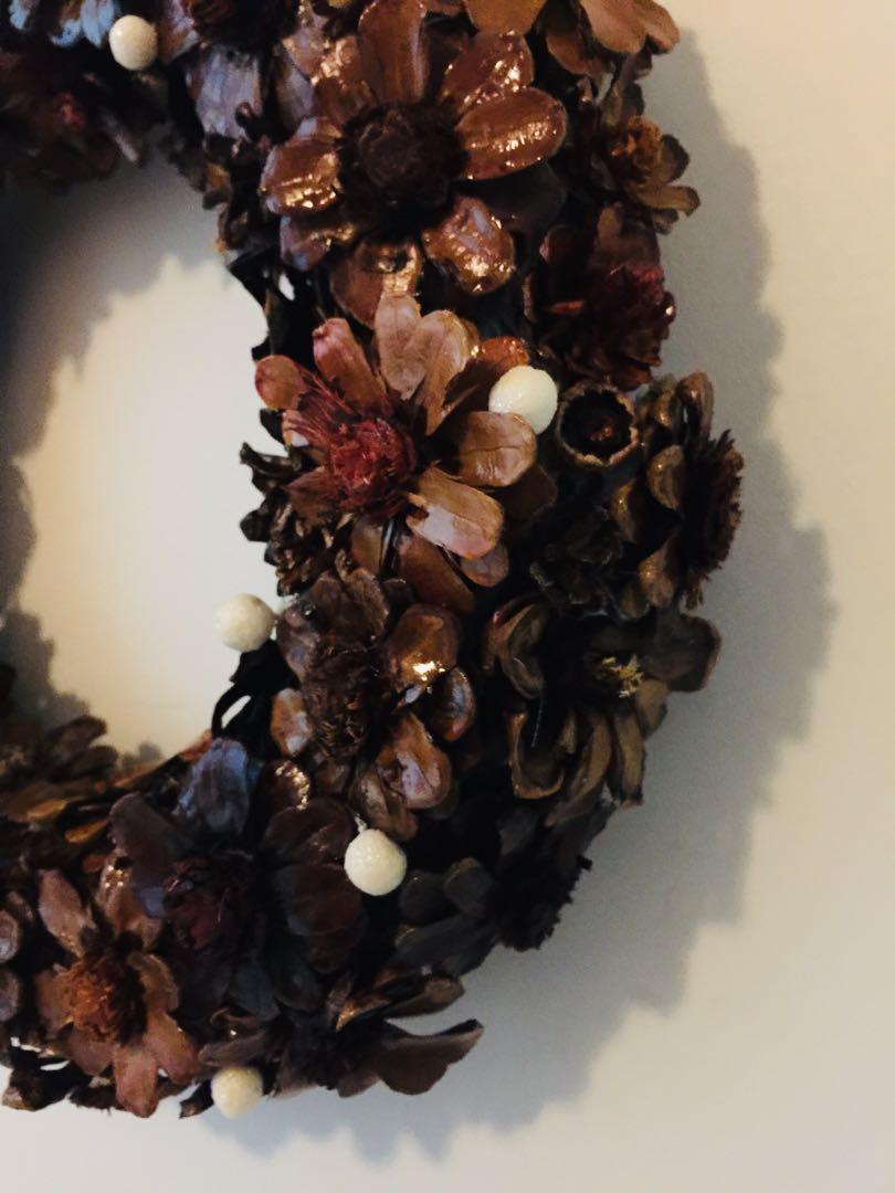 Handmade mahogany walnut and oak stained pine cone flower wreath