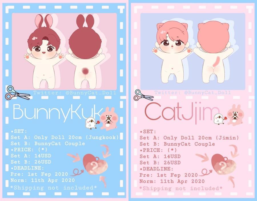 JUNGKOOK & JIMIN - BunnyKuk & CatJjim 20cm doll [10/4]