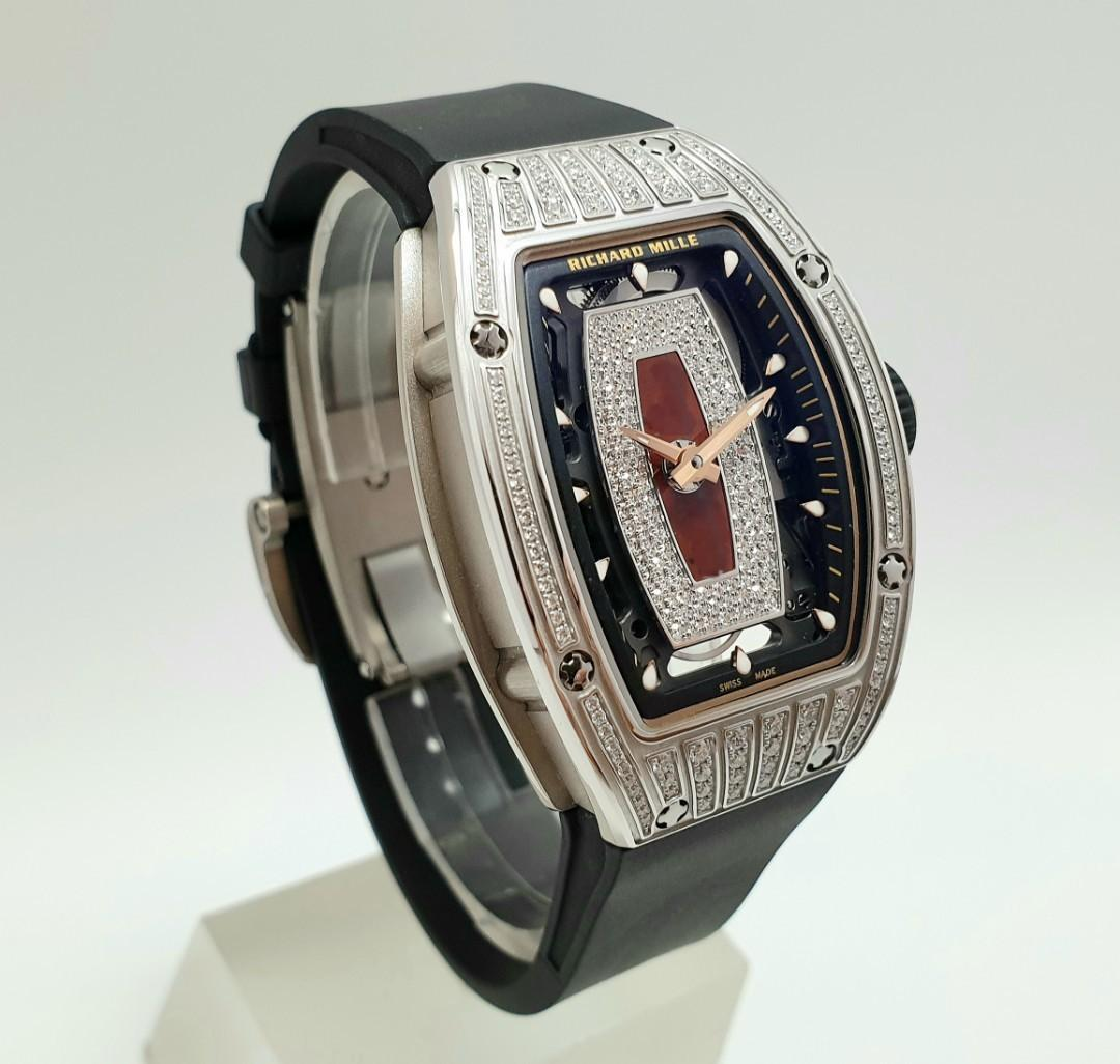 Richard Mille RM07-01 for Ladies in 18K White Gold Top Diamonds with Red Jasper Island Diamond Set Dial New